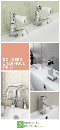 Deciding whether you need 1 or 2 tap hole fixtures when planning your bathroom isn't the first thing you'll think about but it is important which is why we've prepared an article detailing everything you need to know. Blue Bathrooms, Bathroom Taps, Plumbing, Basin, Victorian, Stuff To Buy, Inspiration, Home Decor, Biblical Inspiration