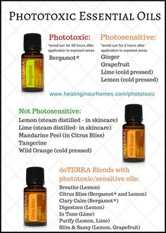 Photosensitive oils--be careful in the sun with these oils on skin!