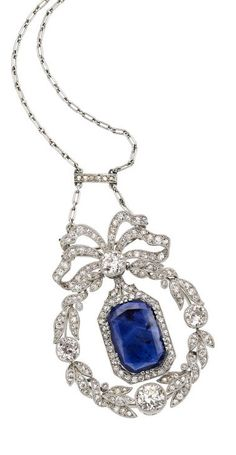 Edwardian Sapphire, Diamond, Gold, Platinum Necklace