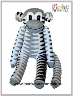 Grey and dark grey chevron Sock Monkey  Adopt over at http://monkeyandme.com.au #sockmonkeys #gifts #toys