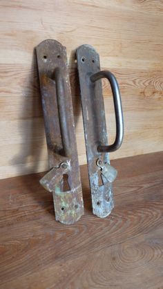 Huge Antique Door Handles, Vintage Metal Door Handles, With Key Hole, Architectural Salvage, Shabby Chic Handles,Handles Distressed,Salvaged by RAGMAN770 on Etsy