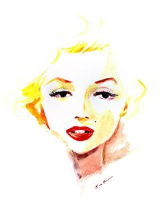 Marilyn Monroe Watercolor by sookimstudio | This image first pinned to Marilyn Monroe Art board, here: http://pinterest.com/fairbanksgrafix/marilyn-monroe-art/ || #Art #MarilynMonroe