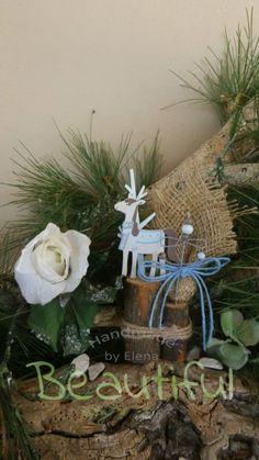 Μπομπονιέρα Βάπτισης. Μπομπονιέρα βάπτισης αγόρι ξύλινο διακοσμητικό δεντράκι αγοράκι χειροποίητο. Grapevine Wreath, Grape Vines, Wreaths, Christmas Ornaments, Holiday Decor, Home Decor, Decoration Home, Door Wreaths, Room Decor