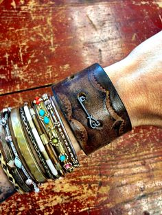 Bracelet Cuff Leather Jewelry Brown with Skeleton Key Jewelry  EMBELLISHED Bracelet Cuff Jewelry Leather Bangle OOAK (Cuff Emb) on Etsy, $38.00