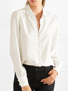 New ladies office buttons cotton white blouse women shirts long sleeve casual womens tops and blouses 2017 autumn Casual Tops For Women, Blouses For Women, Ladies Blouses, Bluse Outfit, Victorian Shirt, White Silk Blouse, White Blouse Outfit, Pencil Skirt Black, Pencil Skirts