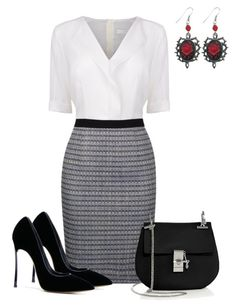 """A touch of Red"" by lchar ❤ liked on Polyvore featuring mode, BOSS Black, Chloé et Casadei"