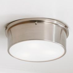 This clean sharp looking ceiling light comes across modern with a touch of industrial appeal. The meek cylinder shape and frosted glass keep the design simple and up to date. Choose from Brushed Nickel or Oil Rubbed watt medium base lamps Kitchen Ceiling Lights, Ceiling Light Design, Semi Flush Ceiling Lights, Flush Mount Lighting, Flush Mount Ceiling, Kitchen Lighting, Laundry Room Lighting, Hall Lighting, Lighting Ideas