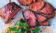 Yotam Ottolenghi's roast beef sirloin with cucumber kimchi and fresh plum Plum Recipes, Meat Recipes, Asian Recipes, Cooking Recipes, Healthy Recipes, Yotam Ottolenghi, Ottolenghi Recipes, Cucumber Kimchi, Beef Sirloin