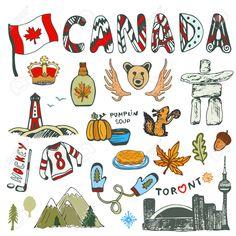 Collection Croquis Des Symboles Du Canada. La Culture Canadienne Avait Esquissé Ensemble. Illustration Voyage Avec Doodle Lettrage. Clip Art Libres De Droits , Vecteurs Et Illustration. Image 56096529.