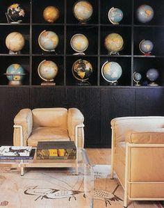 decorating with globes interior design bookshelves