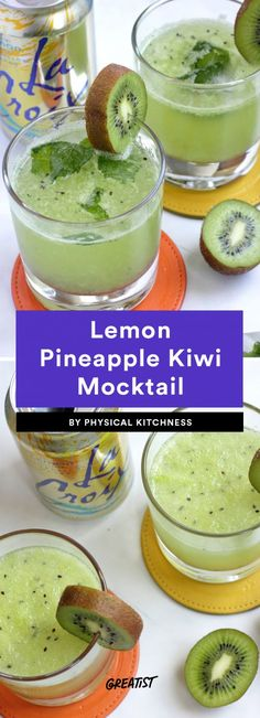 - 7 Dry January Mocktails to Make So You're Not Stuck Drinking Club Sodas All Month Lemon Pineapple Kiwi Mocktail Kiwi Recipes, Alcohol Recipes, Snack Recipes, Snacks, Pineapple Benefits For Men, Pineapple Detox, Dry January, Non Alcoholic Drinks, Recipes