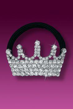 Rhinestone Ponytail Holder - Dance Ponytail Holder - Princess Crown (Crystal).  Rhinestone JewelryCrystal RhinestonePonytail HoldersSparklesCrownCorona Crowns af5b4c5d7981