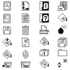 """Susan Kare, Macintosh Icons, Apple Computer Inc. USA """"Kare's trash can… Icon Design, Web Design, Flat Design, Computer Icon, Maker Culture, Moving To California, Apple New, Old Computers, Pictogram"""