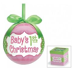 """1ST CHRISTMAS GIRL ORNAMENT Reference:  9727993 Condition:  New product  4"""" Pink Baby's 1st Christmas ornament. Pink ornament with light pink stripes going around. Green center band with white polka dots. Message on front and back. Gift box with clear window lid. Poly foam, paper, heavy paperboard. 4""""H X 4""""W X 4""""D, 9"""" including ribbon loop."""