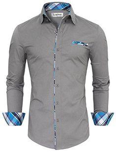 Tom's Ware Mens Premium Casual Inner Contrast Dress Shirt TWNMS310S-1-GRAY-S