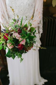 Deep red, plum and pink wedding bouquet. http://www.elliegillard.co.uk/