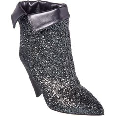 Isabel Marant Luliana Glitter Ankle Boot (1.895 RON) ❤ liked on Polyvore featuring shoes, boots, ankle booties, ankle boots, metallic, glitter ankle boots, high heel booties, leather high heel boots, isabel marant booties and leather bootie