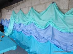 great backdrop idea! Plastic tablecloths! great for Noah's ark or some other ocean or lake themed story.                                                                                                                                                                                                                                                                                               6 repins