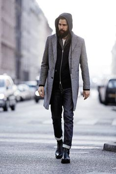 Wear a grey overcoat and black jeans for your nine-to-five. Complement your outfit with black leather chelsea boots. — Black Leather Chelsea Boots — Black Jeans — Grey Overcoat — Black Hoodie — Charcoal Scarf — White Crew-neck T-shirt Men Street, Street Wear, Grey Overcoat, Gray Coat, Black Leather Chelsea Boots, Black Chelsea Boots Outfit, Black Boots, Style Streetwear, Men Casual