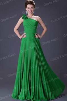 Grace Karin One Shoulder Long Pleated Evening Gown or Prom Dress Assorted Colors