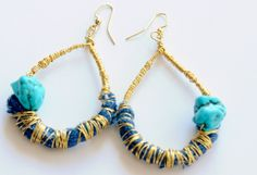 Boho+Earrings++Wire+Wrapped+Earrings+++Fabric+by+ZenCustomJewelry,+$23.00