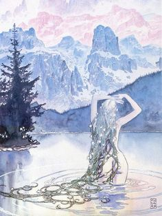 water nymph with flowers in long hair and braids, pink and blue, mountains, lake