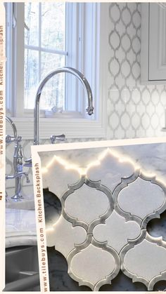 tiles Backsplash Kitchen design is no easy task. Renovating or building a new kitchen is the most expensive space in your home. Affordability and Timeless Styled Decor elements will ensure you're making a smart investment. White Kitchen Backsplash, Kitchen Design Trends, Waterjet Mosaic Tile, Kitchen Remodel, Kitchen Design, Kitchen Marble, Kitchen Buffet, Kitchen Credenza, Kitchen Backsplash Trends