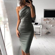 Off Shoulder Asymmetrical Sheath Dress