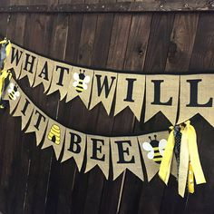 The perfect banner for a bee themed baby gender reveal party or announcement. What will it bee?? Ready to Ship in just a few days!! This honey bee banner set has black letters on burlap pennants with fabric appliqué bees and bee hive, sewn to a black trim. Use these pieces as party decorations at a party or in photos to announce the gender of a little one! The banner set is two pieces. Both pieces are 48 inches wide, plus fabric strips tied on each end, and extra trim for hanging it. Buy ...