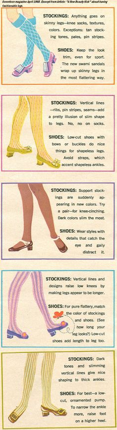 Seventeen Magazine, April 1968 tights stockings color illustration chart 60s 70s blue yellow pink