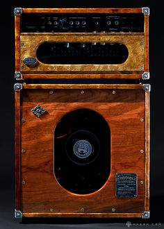 """""""Music For The Eyes"""" ™, Heavy Magic's Soulfilled Sound Machines™---prototype Guitar Amplifier & Speaker Cabinet Design.-master crafted using only the finest materials, from dovetailed cabinets in hand-selected tone enhancing hardwoods, such as African b& Diy Guitar Amp, Cool Guitar, Radio Vintage, Antique Radio, Guitar Cabinet, Music Machine, Bass Amps, Guitar Building, Custom Guitars"""