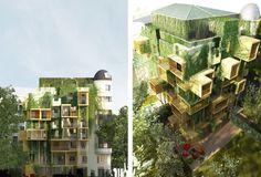 Parasitic wooden cubes slash Parisian building's energy consumption by 75% — #Architecture #Paris