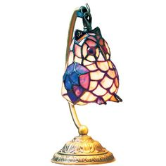 Lighting Web Co Glass Medium Owl Table Lamp, Blue
