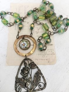 greenhouseupcycled repurposed assembled Y necklace vintage by Arey