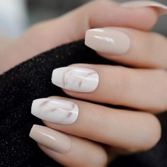 Ballerina Fake Nails Khaki Nude Marble Coffin Flat Artificial False Nail Tips for Office Home - My nails! - Ballerina Fake Nails Khaki Nude Marble Coffin Flat Artificial False Nail Tips for Office Home So Nails, Gel Nails At Home, Glue On Nails, Pretty Nails, Shellac Nails, Tips For Nails, Glitter Nails, Gel Tips, Gorgeous Nails