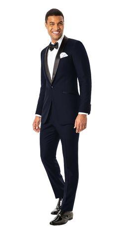 Custom Tuxedo in Midnight Blue   Black Lapel