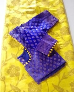 Yellow saree with purple blouse Best Picture For wedding sarees For Your Taste You are looking for something, and it … Cutwork Blouse Designs, Wedding Saree Blouse Designs, Saree Blouse Neck Designs, Simple Blouse Designs, Stylish Blouse Design, Simple Designs, Designer Blouse Patterns, Yellow Saree, Purple Saree
