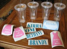 use a silhouette machine to make designs and apply to vinyl cups