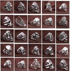 Buy Wholesale Vintage Sports Men's Gothic Skull Metal Rock Jewelry Rings Mixed Styles at Wish - Shopping Made Fun Rock Jewelry, Cheap Jewelry, Womens Jewelry Rings, Jewelry Gifts, Jewelry Accessories, Women Jewelry, Mix Style, Rock Style, 50s Style Men