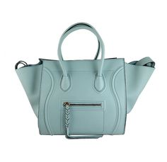 Celine Blue Glacier Phantom Pebbled Leather Luggage Tote Bag