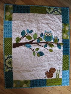 Owl baby boy quilt of flannel & cotton
