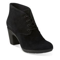 Lucette Drama Black Suede - Clarks Womens Shoes - Womens Heels and Flats - Clarks - Clarks