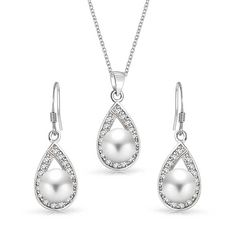 Bling Jewelry Sterling Silver CZ Freshwater Cultured Pearl Teardrop Bridal Necklace Earring Set ** You can find more details by visiting the image link.-It is an affiliate link to Amazon. #JewelrySets