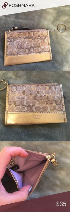 Coach signature print card case Authentic gold card holder with attached key ring. NWOT from a smoke free home. Matching wristlet available in my closet Coach Bags Clutches & Wristlets