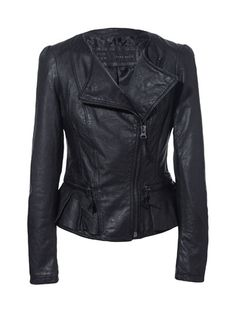 I am seriously thinking of splurging for this ... Thoughts? Image 6 of LEATHER JACKET WITH RUFFLE DETAIL from Zara