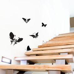 Butterflies Vinyl Wall Art Decal Pack for Kids and Children's Nursery Made from premium-quality sign vinyl with excellent adhesion to walls. This matt black vinyl reduces glare from overhead lighting and creates a paint-like effect on your wall.. Application ready (each shape comes on one strip of application tape).. This vinyl wall art decal pack for kid's rooms and nurseries lets you and your ch... #Vinyl_Revolution #Home