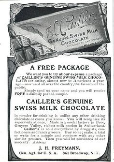advertisement for Cailler Chocolate, Nestle's premier Swiss brand. Chocolate Card, Cacao Chocolate, Swiss Chocolate, Posters, Ads, Vintage, Poster, Vintage Comics, Billboard