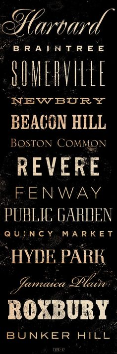 Boston Neighborhoods Canvas typography graphic art 12 x 36 by stephen fowler. $149.00, via Etsy.