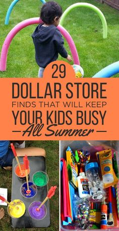 Many dollar store finds can be used for materials for kid-friendly projects. Fun projects are ideal to keep your kids busy all summer before school starts.