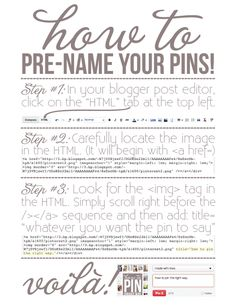 a how-to guide for pre-naming your pins on Blogger {a free printable}